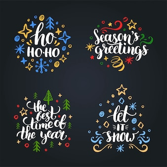 Set of christmas hand lettering .