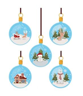 Set of christmas hanging balls