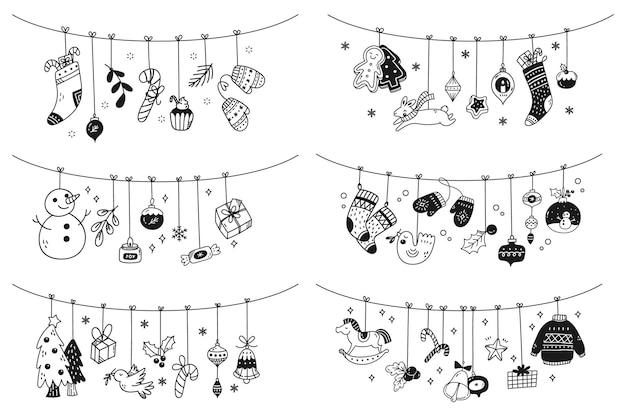 Set of christmas hanging decoration doodles