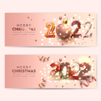 Set of christmas and happy new year 2022 horizontal banners vector illustration