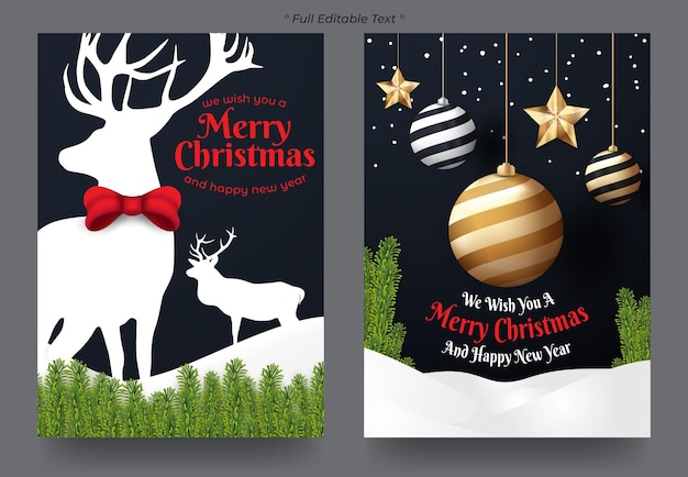 Set of christmas and happy new year gift card
