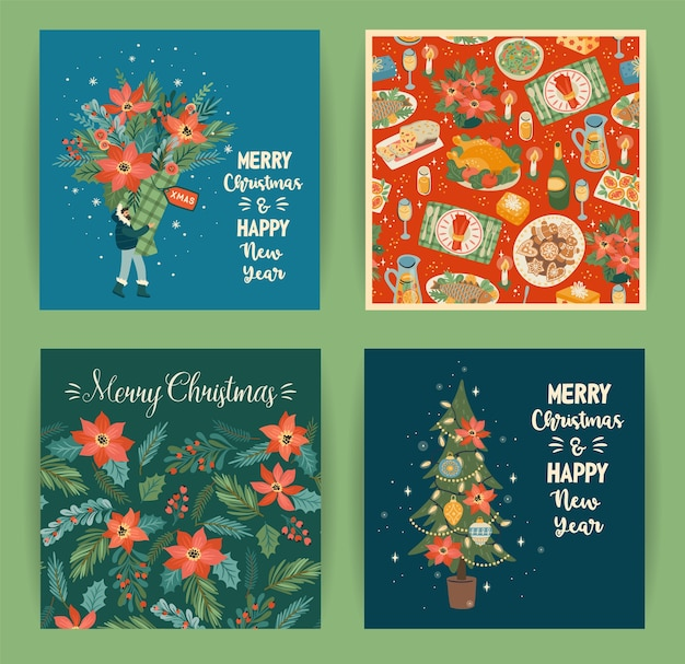 Set of christmas and happy new year illustrations in trendy cartoon style