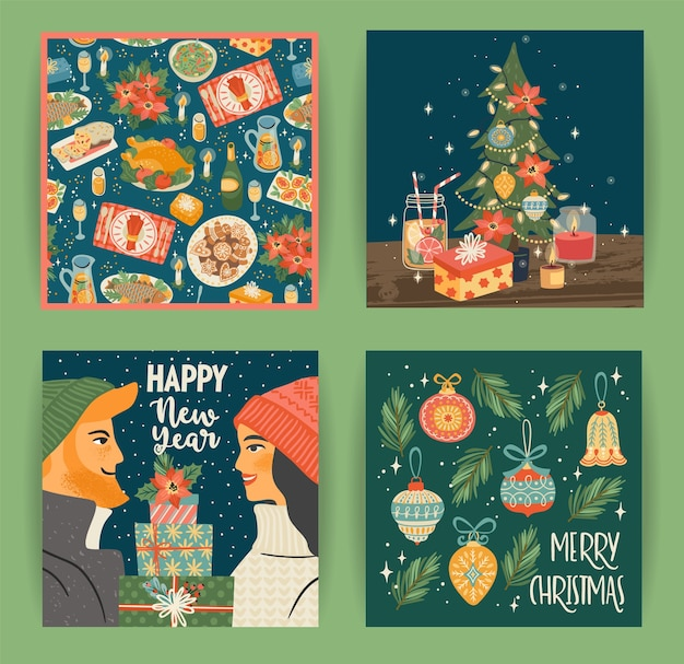 Set of christmas and happy new year illustrations with christmas symbols young boy and girl