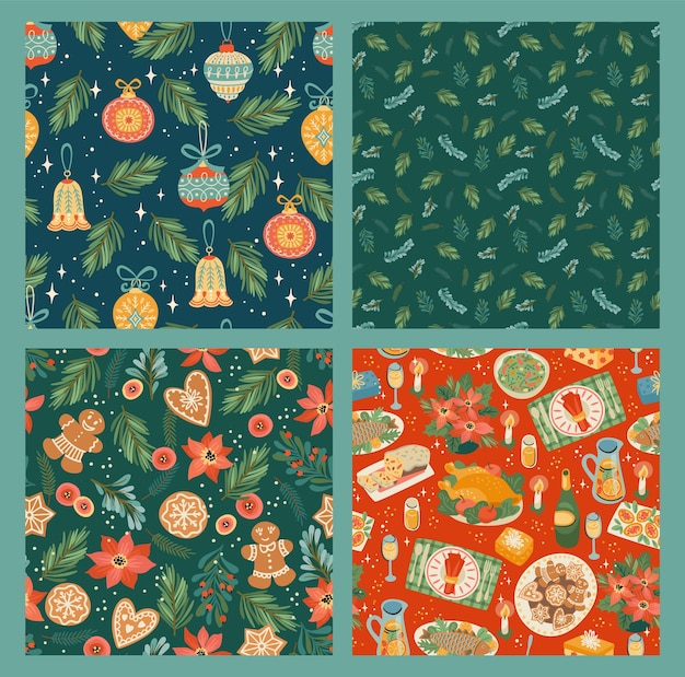 Set of christmas and happy new year seamless pattern. trendy retro style.