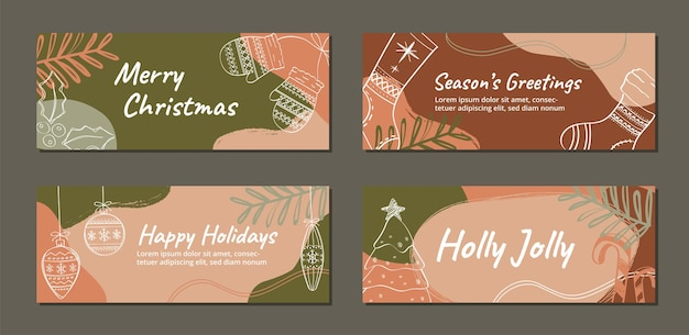 Set of christmas holiday banner posts for social media advertising promotion marketing