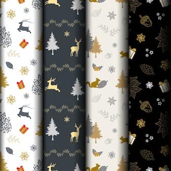 Set of christmas holiday seamless pattern