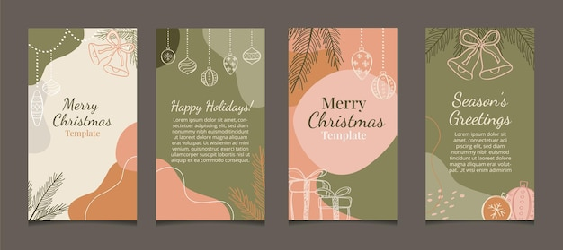 Set of christmas holiday stories posts for social media advertising promotion marketing