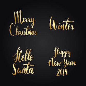 Set of christmas holiday typography vectors
