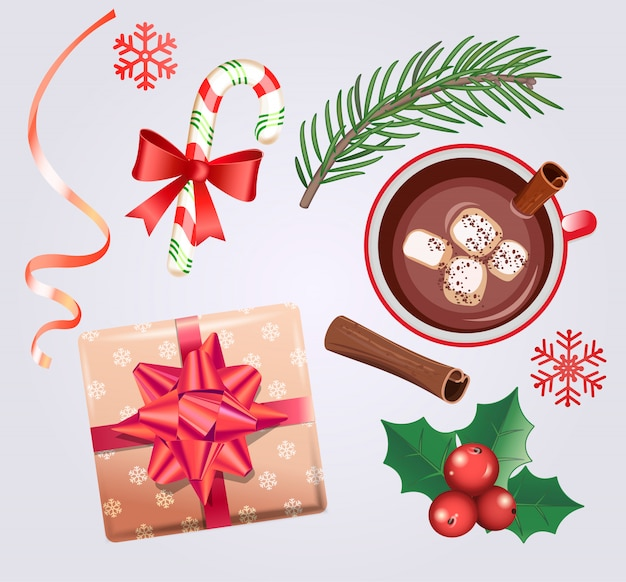 Set for christmas holidays with traditional decorations