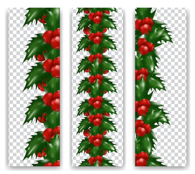 Set christmas holly berries vertical border on transparent background. xmas or new year decorations.