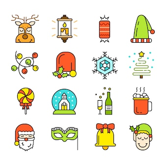 Set of christmas icons isolated. flat style. modern trendy design.