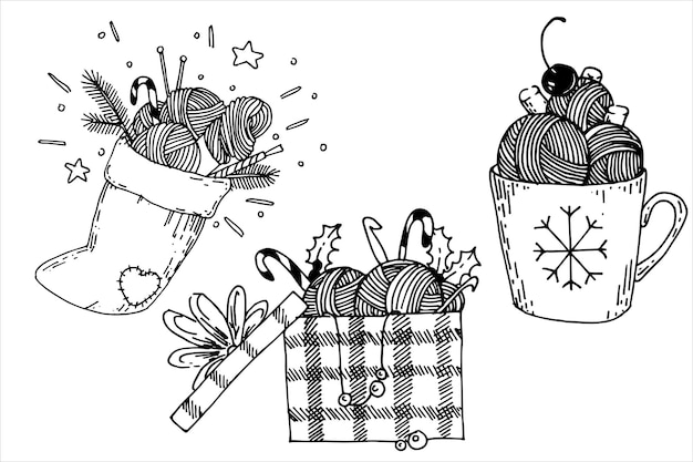 Set of christmas illustrations in doodle style on the topic of knitting crocheting gifts