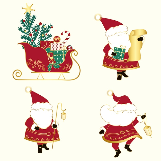 Set of christmas illustrations vector