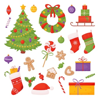 Set of christmas items. christmas tree, socks, candies, gifts and more.