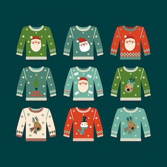 Set of christmas jumpers.