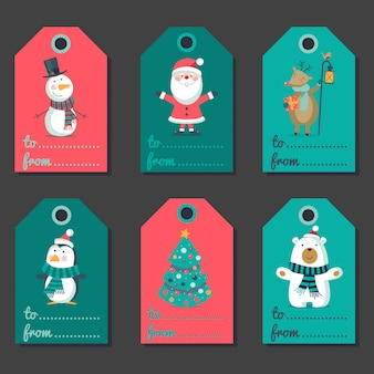 Set of christmas labels with characters.