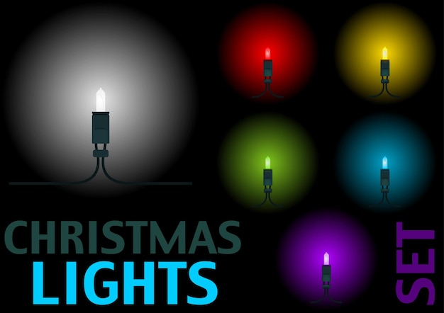 Set of christmas led lights in 6 different colors