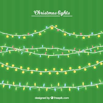 Set of christmas lights garlands