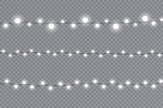 Set of christmas lights isolated realistic design elements. garlands decorations.   illustration.