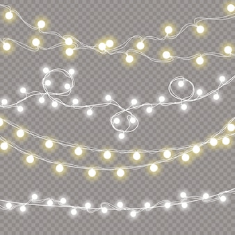 Set of christmas lights isolated realistic design elements.glowing lights garlands decorations.   illustration.