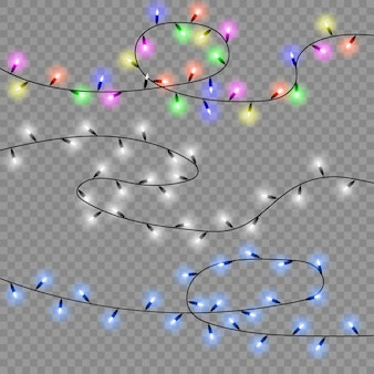 Set of christmas lights isolated realistic design elements.