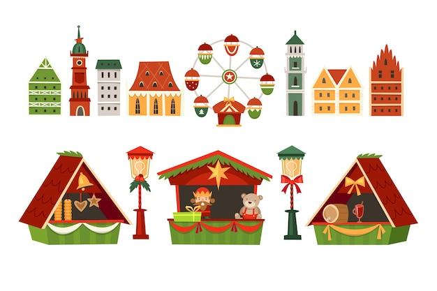 Set of christmas market elements