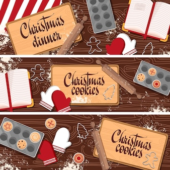 Set of christmas new year banners with wooden table