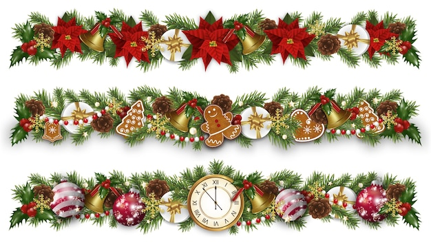 Set christmas and new year border decorations with garland, golden bells
