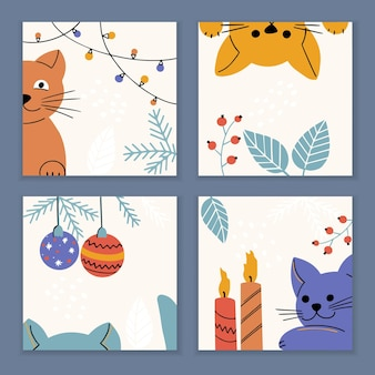 Set of christmas and new year cards with kitty and holiday elements and symbols