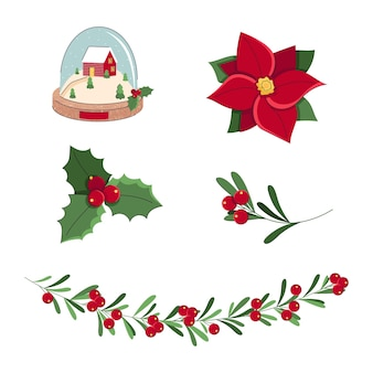 Set of christmas and new year elements with red flower poinsettia holly berry leaves snow globe