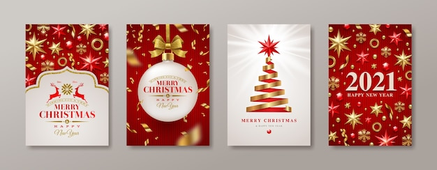 Set of christmas and new year greeting card.  new year poster.