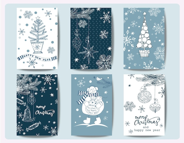 Set of christmas and new year greeting cards with christmas trees  template vector