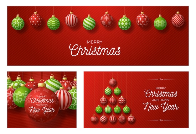 Set of christmas and new year greeting cards with tree made by balls. christmas card with ornate red and green realistic balls on red modern background.  illustration.