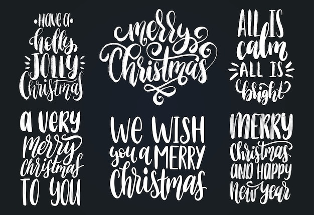 Set of christmas and new year hand lettering