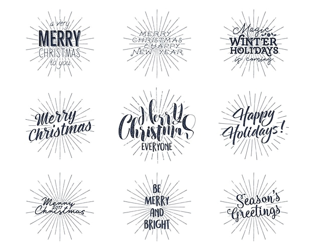 Set of christmas , new year lettering, wishes, sayings and vintage labels.