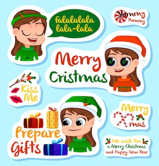 Set of christmas and new year stickers or magnets festive souvenirs holidays sticker label