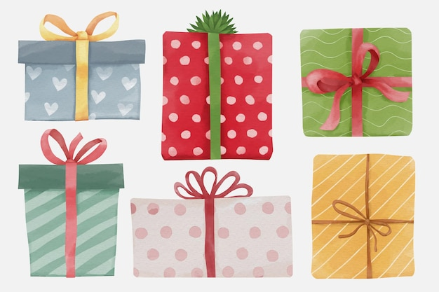Set of christmas and new year watercolor gift boxes