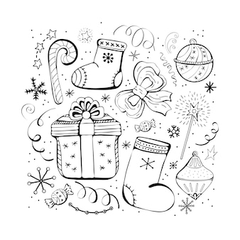 Set of christmas and new year winter icons. candy, gift, snowflakes, boots, bow, christmas toys, serpentine, garland. hand drawn monochrome set, black and white set.