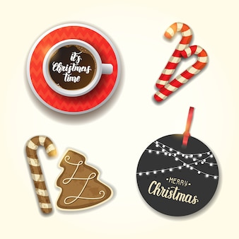 Set of christmas objects. cup of coffee, festive gingerbread, cane and  greeting tag. hand made lettering.  merry christmas and happy new year.