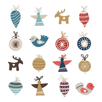 Set of christmas ornaments and decorations