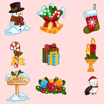 Set of christmas ornaments icons in cartoon style