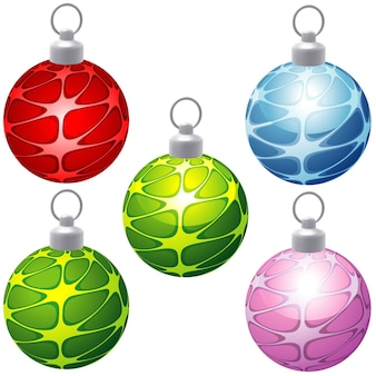 Set of christmas ornaments with textured pattern as five colored illustrations