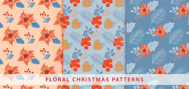 Set of christmas pattern.