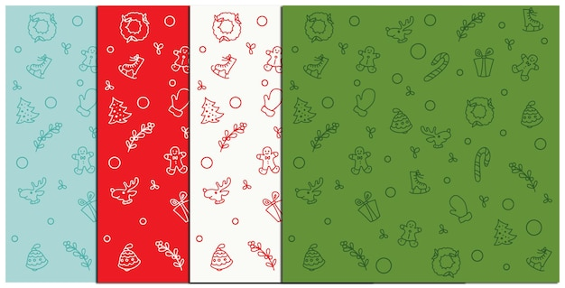 A set of christmas patterns in different colors. vector illustration.
