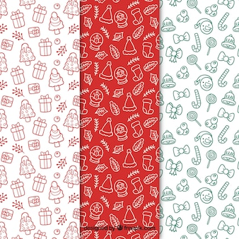Set of christmas patterns with hand drawn elements