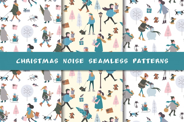 Set of christmas patterns with people and gifts