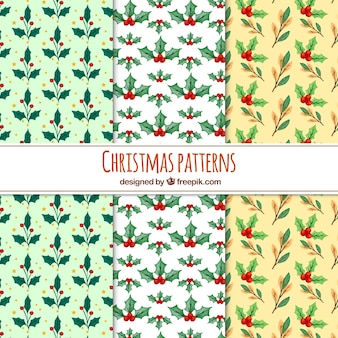 Set of christmas patterns with watercolor mistletoe