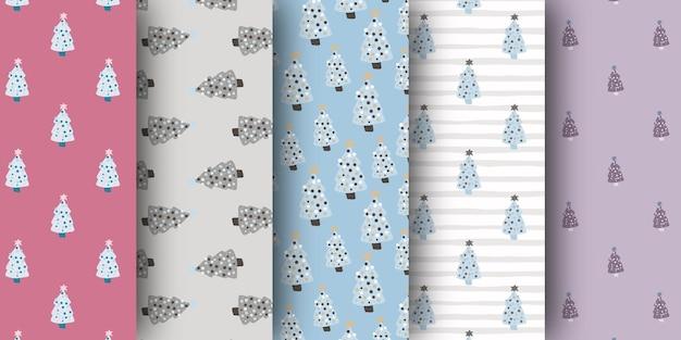 Set of christmas pine tree ornament winter seamless pattern.