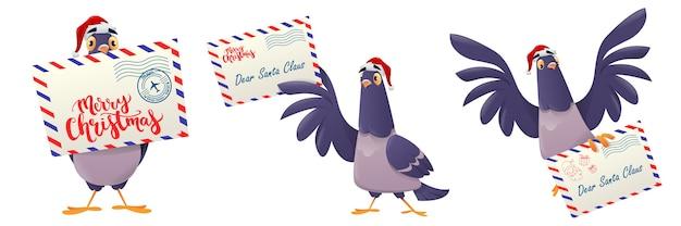 Set of christmas post pigeon