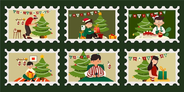 Set of christmas postage stamp. people celebrating christmas